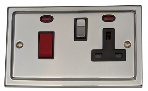 G&H TC329 Trimline Plate Polished Chrome 45 Amp DP Cooker Switch & 13A Switched Socket